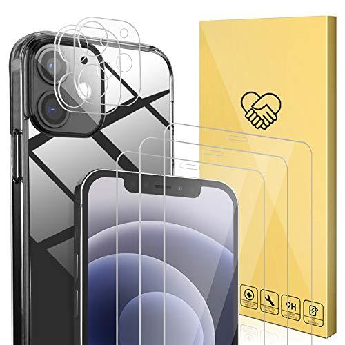 ANEWSIR Kompatibel mit iPhone 12 Hulle 3 Stuck Schutzfolie und 2 Stuck Kamera Schutzfolie 9H Klar Blasenfrei Displayschutz weiche TPU Silikon Case Cover Transparent