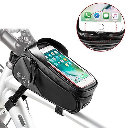 Nasjac Fahrradrahmentasche, wasserfeste Fahrradvordertasche mit Kartenhalter, Touchscreen-Fenster und reflektierender Streifen Aufbewahrungstasche Für Telefone bis zu 6,6