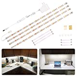 WOBANE LED Under Cabinet Lighting Kit,Flexible LED Ribbon Lights Bar,Under Counter Lights for Kitchen,Cupboard,Desk,Showcase,Shelf,6.6 Feet Rope Light Set,UL Listed,120 LED,1200lm,6000K White,4 Panel
