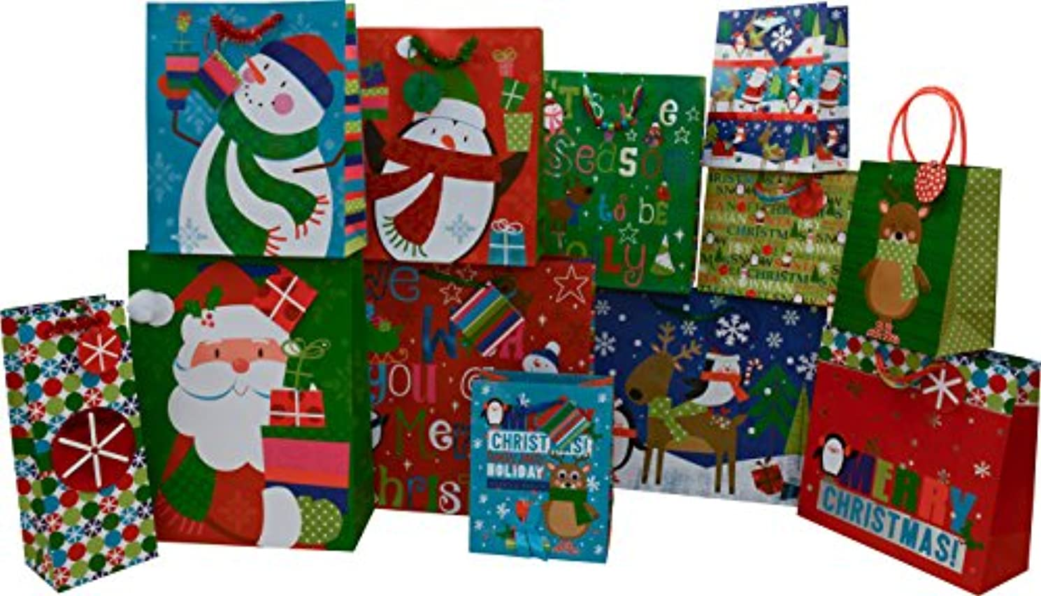 12 Christmas gift bags Small Medium Large Square and Vogue bulk assorted styles and sizes with handles and tags