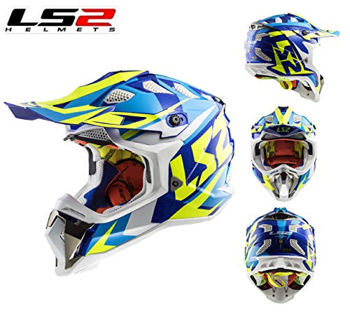 Motorrad CrossHelm LS2 MX470 Subverter Nimble Motorradhelm Motocross Off-Road Quad SportHelm MX ATV Enduro Dirt Pit Bike Crash Rennhelm ECE Helm, Blau/Gelb/White (3XL)