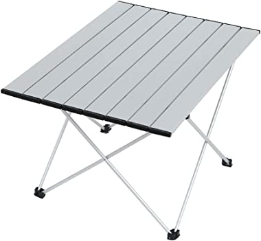 Kuhxz Camping Tables,Portable Side Tables with Aluminum Table Top, Folding Table in a Bag for Picnic, Camp, Beach, Hiking Tables 27.0 x 17.9 x 15.9 inches,US Stock