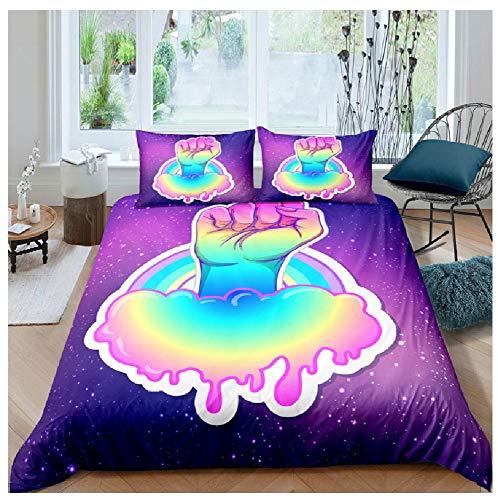 BAIYANG Simplicity Fist Pattern Bedding Set Queen Size Duvet Cover Comforter Bed Cover Set Bedclothes Quilt Multiple Size 3Pcs King(230x220cm)