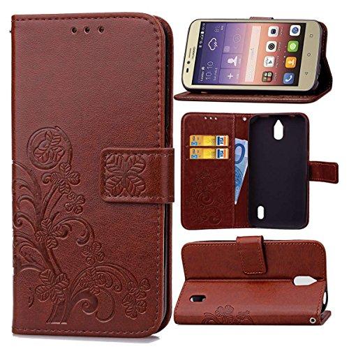 Guran Funda de Cuero PU para Huawei Y625 Smartphone Función de Soporte con Ranura para Tarjetas Flip Case Trébol de la suerte en Relieve Patrón Cover - Marrón