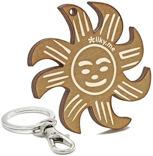 LIKY® Sol Amuleto de la Suerte - Llavero Original de Madera Grabado...