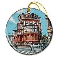 イタリアミラノストリート建築ロンバルディアクリスマスオーナメントセラミックシート旅行お土産ギフト