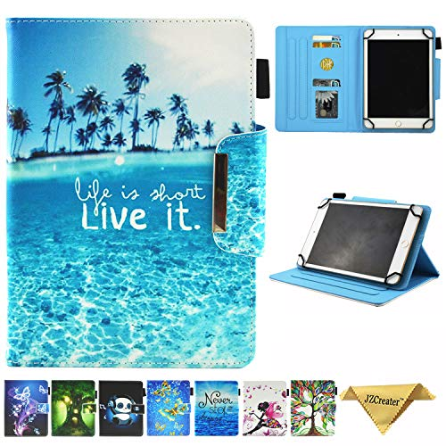 JZCreater 6.5-7.5 Inch Tablet Universal Case, Stand Wallet Case for Samsung Galaxy Tab/F ire 7.0 2015 2017/ Huawei Mediapad/Google and More 6.5'-7.5' inch Table, Sea Island