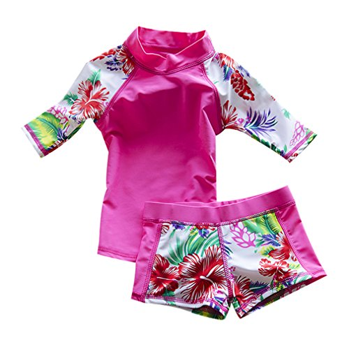 LOSORN ZPY Baby Toddler Boy Girl Two Piece Swimsuit Swimwear Bathing Suit UPF 50+ Pink S