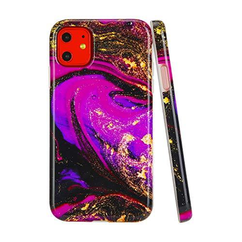SunshineCases【Kompatibel: Apple iPhone 11】 Dünne, Ganzkörper-Schutzhülle für Damen und Mädchen, Fuchsia & Gold Geode Marble