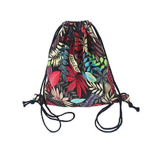 Unisexe Voyage Sport Drawstring sacs à dos en toile feuilles rouges de style