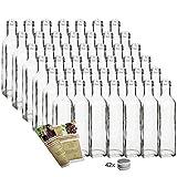 gouveo 42 leere Glasflaschen 250ml 'Maraska' incl. Schraubverschluss und Rezeptbroschüre, Eckig, Likörflasche Schnapsflasche 0,1l / 0,25l / 0,5l Liter (42, 250 ml)