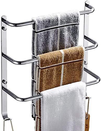 Handdoekhouder voor het ophangen aan de muur van roestvrij staal met 3-laags badkamerrek met douchestang met haken (afmetingen: 34 x 11 x 37 cm) 40*11*37CM
