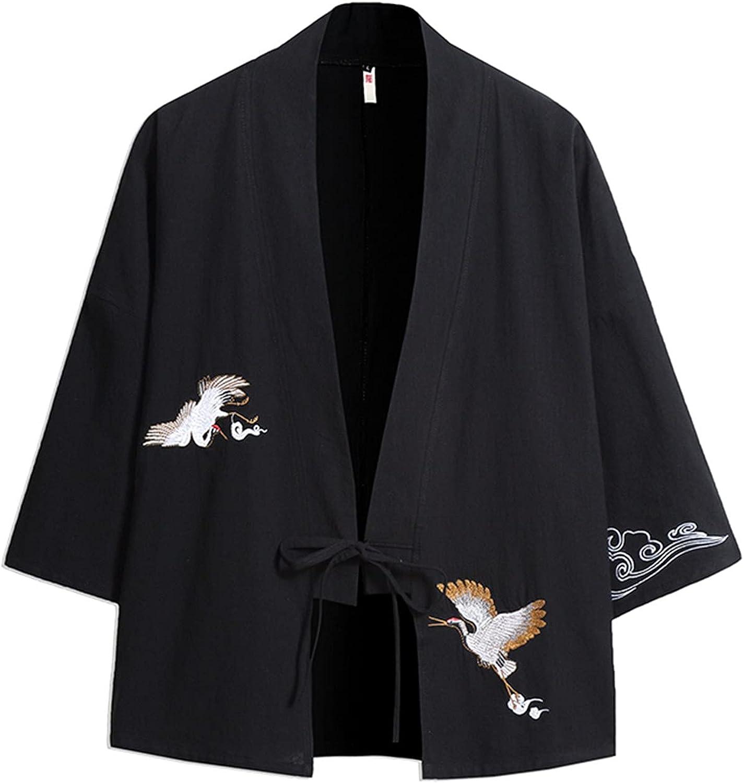 AMOMA Men's Raglan Sleeve Crane Embroidery Kimono Loose Breathbalbe Casual Cardigan Yukata Top with Tie