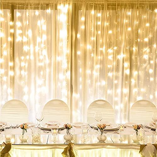 LE Luces de Cortina con Enchufe, 6m x 3m 594 LED 8 Modos Luz, Luz Cadena Impermeable Interior y Exterior, Luz de Hadas Blanco Cálido para Decoración Navidad, Fiestas, Bodas, etc