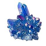 EXCEART Cristal Cluster cuarzo aguamarina natural cuarzo cristal piedras curativas adorno de mesa para salón escritorio riqueza Fortuna forma aleatoria azul 100 g