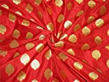 TheFabricFactory Brokat-Stoff, 111,8 cm, Rot/goldfarben