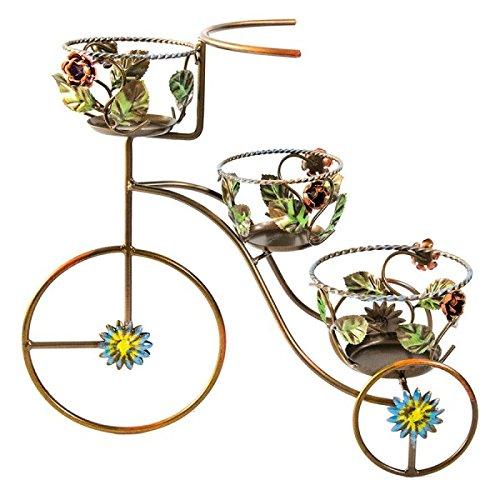 Jardinière en fer forgé coloré Tricycle 3 places MADE IN ITALY