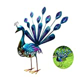 Peacock Garden Statues and Figurines, WOLUNWO Beautiful Garden Decorations Outdoor, Garden Statuettes of common metal Feet Stakes 20 Inches, Indoor/Outdoor Sculpture for Patio, Yard or Lawn