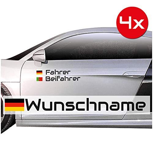 Finest Folia Personalisierter Autoaufkleber Set mit Name Länderfahne Fahrer Beifahrer Auto Kfz Zubehör Namensaufleber Flagge Wunschtext Racing Rallye Aufkleber