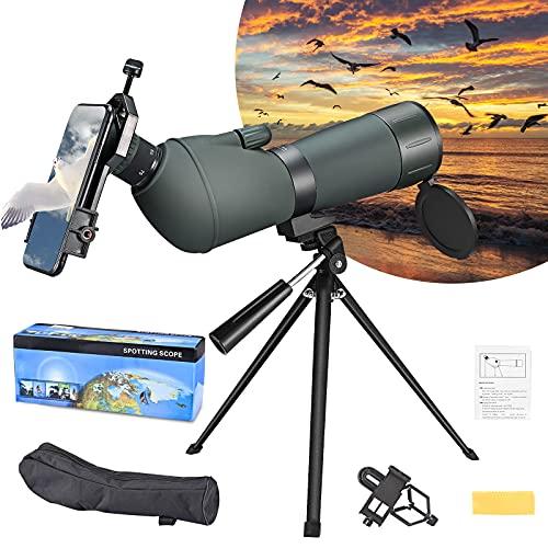 GJCrafts Telescopio Terrestre HD 20-75x70, Telescopios Monoculares con Trípode, Bolsa de Transporte y Adaptador para Teléfono Inteligente, Zoom Impermeable y Antivaho, para Caza y Observación de Aves