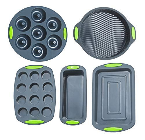 5 Pieces Silicone Bakeware Set | Food Grade Premium Silicone Molds | Round Cake Pan, Loaf Toast Bread Pan, 12 Cup Mini Muffin Pan, 7-Cavity Donut Pan, 11x7.5-Inch Cake Tray - Baking Pans Nonstick Set
