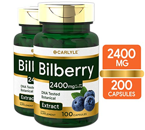 Bilberry Fruit Extract 2400mg | 200 Capsules | Non-GMO, Gluten Free Supplement | by Carlyle