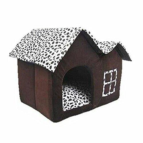 Niche pour animal domestique Jysport - Haut de gamme - Nid chaud pour chien ou chat - Marron café - Point d'onde