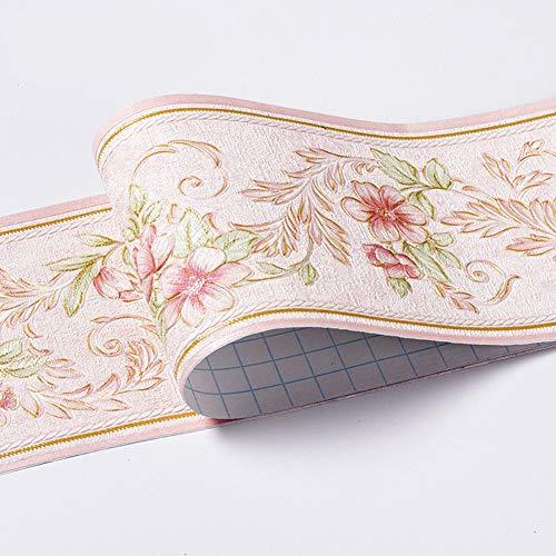 Papel pintado impermeable con diseño floral 3D para pared, autoadhesivo, para cocina, baño, Banggo, 10,6 x 500 cm (rosa)