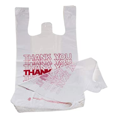 "TashiBox Shopping Bags/Thank You Bags/Reusable and Disposable Grocery Bags - Measures 11.5"" X 6.25"" X 21"", 15mic, 0.6 Mil (1000)"