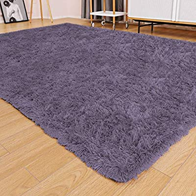 Ophanie Ultra Soft Fluffy Area Rugs for Living Room, Luxury Shag Rug Faux Fur Non-Slip Floor Carpet for Bedroom, Kids Room, Baby Room, Girls Room, and Nursery - 4x5.3 Feet Grey/Purple