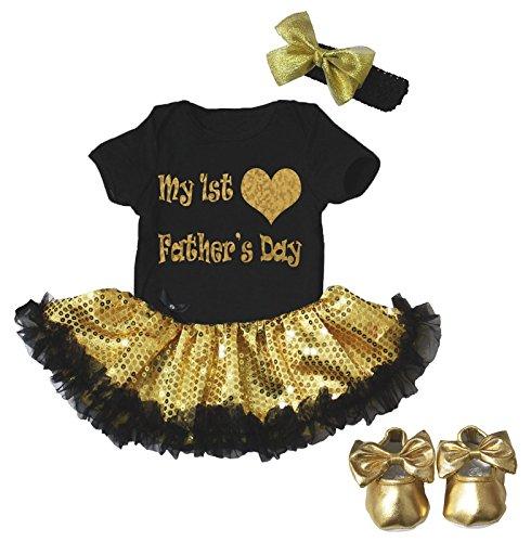 Mijn 1e Vaderdag Jurk Zwart Bodysuit Goud Pailletten Tutu Romper Schoenen Nb-18m