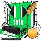 プロ撮影ボックス 照明キット 背景スタンド 50*70cmソフトボックス ソフト傘 4*85W電球 ライトスタンド 背景布(白、黒、緑) スタジオ撮影 ポートレート インタビュー 映画