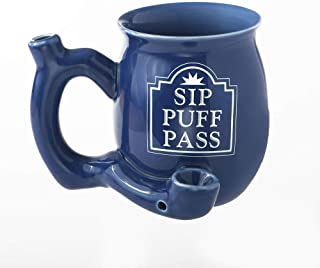 Fashion Craft Sip Puff Pass Blue Novelty Mug with White Letters