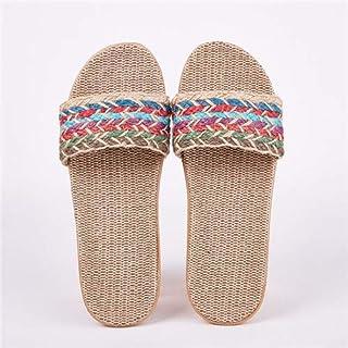 Women's Linen Slippers Sandals Summer Comfortable Non-slip Ladies' Home Slippers Cross-tied Casual Indoor Shoes Multicolor (Color : Orange, Shoe Size : 5)