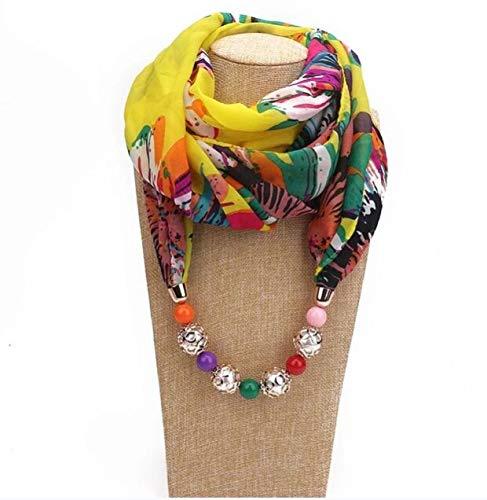 xiucai Bufanda de otoño e invierno Variedad de collares de joyería decorativa cuentas de resina colgantes bufandas para mujer bufandas turbantes bufanda otoño e invierno (color: amarillo)