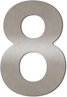 Grote Thorwa® Design roestvrij stalen huisnummer, fijn geborsteld, incl. montagemateriaal/H: 200mm / kleur: zilver 8