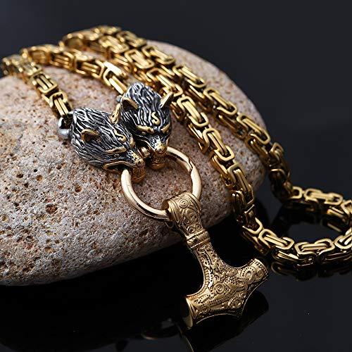 AQzxdc Collar Vikingo para Hombre, Cabeza de Lobo Pesado de Acero Inoxidable Nórdico Vintage con...