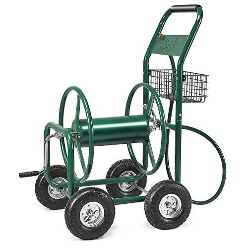 DREAMADE Schlauchwagen Metall, Gartenschlauchwagen 80m, Schlauchaufroller mit Korb, Gartenbewässerung Schlauchabroller, Grün