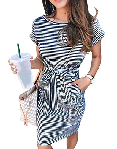 ECHOINE Women's Summer Striped Dresses, Short Sleeve T Shirt Dress Casual Tie Waist with Pockets Black