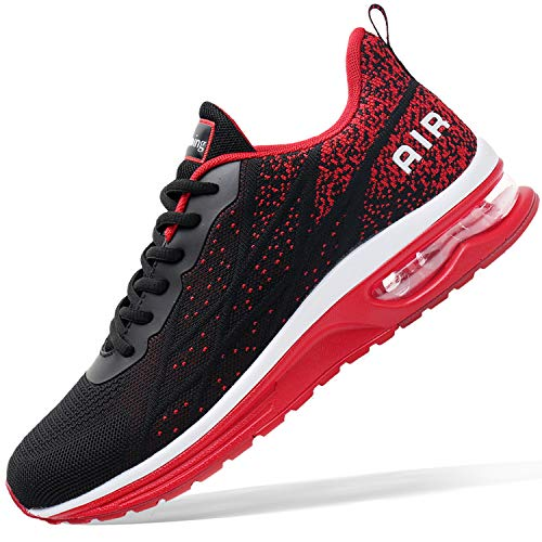 Mens Air Athletic Running Tennis Shoes Lightweight Sport Gym Jogging Walking Sneakers(BlackRed US7)