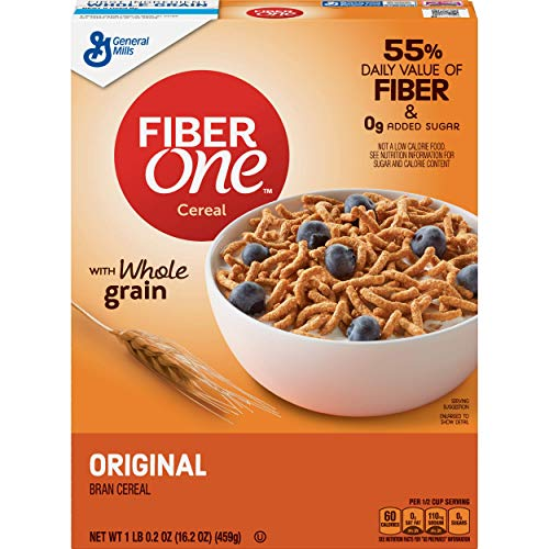 Fiber One Cereal, Original Bran, Whole Grain, 16.2 oz, 6 Pack