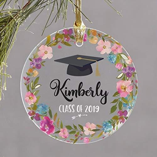 Yor242len - Adorno de graduación de Cristal, Personalizable con Nombre, año de Secundaria, Regalo de graduación, Regalo de graduación universitaria para Ella