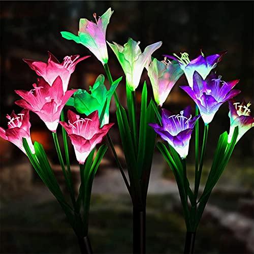 ZQX 3 Luci solari da giardino a forma di fiore solare per esterni, multicolore con fiori di giglio...