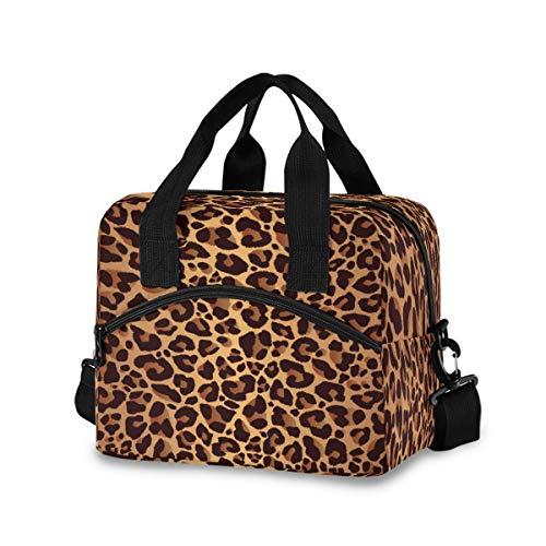 CCDMJ Lunch Bag Animal Leopard Print Lunchbox Organizer Insulated Waterproof Men Women Tote Cooler Handbag Adjustable Shoulder Strap for kids Girls Boys School Office Picnic