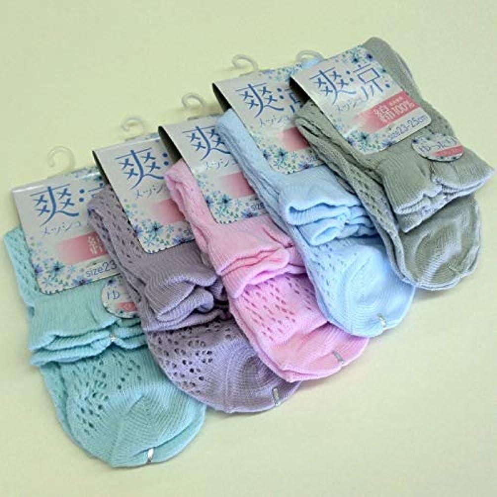 発生する隙間高架靴下 レディース 夏 表糸綿100% 涼しいルミーソックス セット 5色5足組