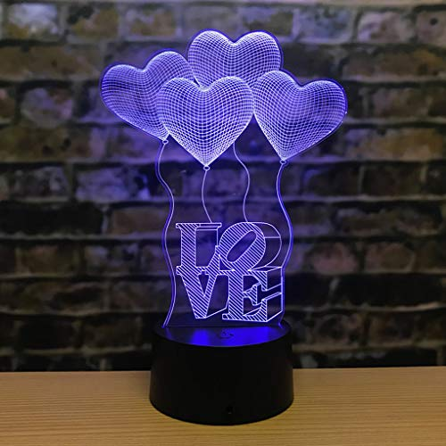 AZIMOM 3D Illusion Lamp Love Heart Night light 7Colors Changing Smart Touch Sensor Optical Illusion Bedside Lamps Bedroom Home Decoration Kids Boys & Girls Women Birthday Gifts