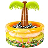 """iBaseToy Inflatable Palm Tree Coolers, Tropical Hawaiian Beach Theme Party Decor, Floating Pool Cooler for Pool Party and Summer BBQ Party, Inflatable Bar Cooler for Adult Party Decorations-36 x 35"""""""