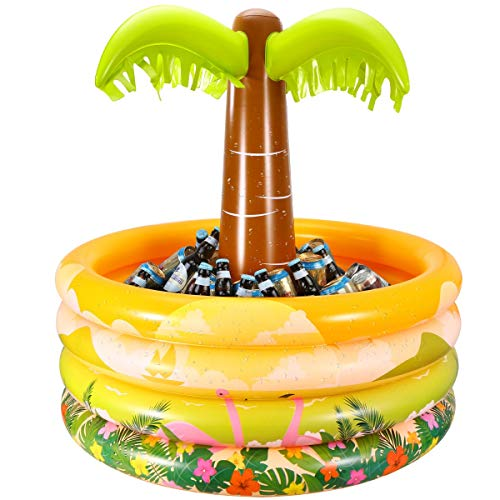 iBaseToy Inflatable Palm Tree Coolers, Tropical Hawaiian Beach Theme Party Decor, Floating Pool Cooler for Pool Party and Summer BBQ Party, Inflatable Bar Cooler for Adult Party Decorations-36 x 35'