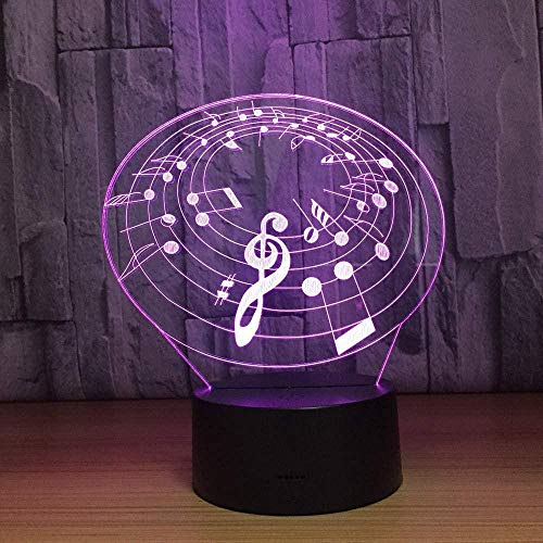 Lámpara de círculo de nota musical 3D Lámpara de noche LED de 7 colores para niños Touch Led Baby Sleeping Nightlight Kids Lamp-Touch screen