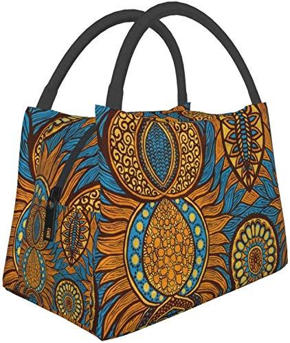 Paquete multifuncional con cremallera para oficina de trabajo escolar, bolsa de almuerzo de impresión africana, bolsa de almuerzo bolsa de comida bolsa de aislamiento portátil